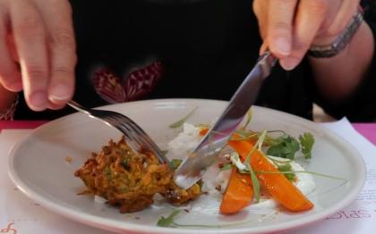 carrot and shallot pakora, lebneh,coriander seed praline w/ salt, sugar & coriander baked carrots